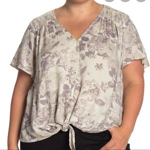 Lucky Brand Embroidered Tie Front Shirt Sz 3XL